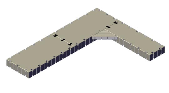 L-Shape dock, 20' Long x 15' Wide